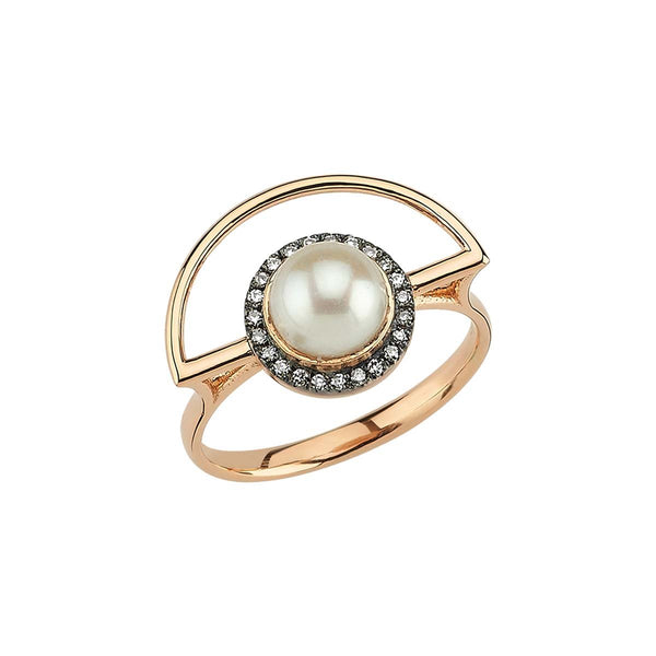 14K Gold Half Moon Pearl Ring | Lope | Fine Jewelry | Ring