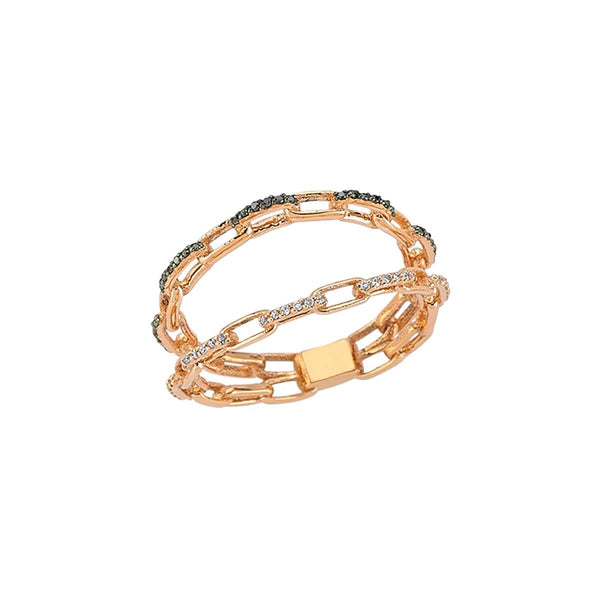 14K Rose Gold Black And White Diamonds Double Chain Ring | Lope | Fine Jewelry | Ring