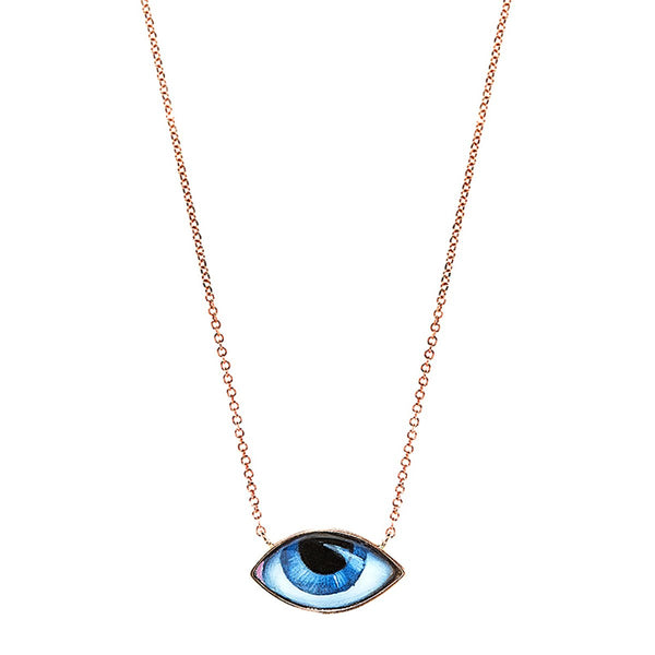 14K Pink Gold Petit Bleu Small Blue Enameled Eye Necklace | Lito | Fine Jewelry | Necklace