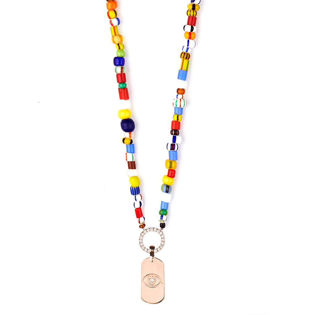 Mini ID tag multi color beaded necklace