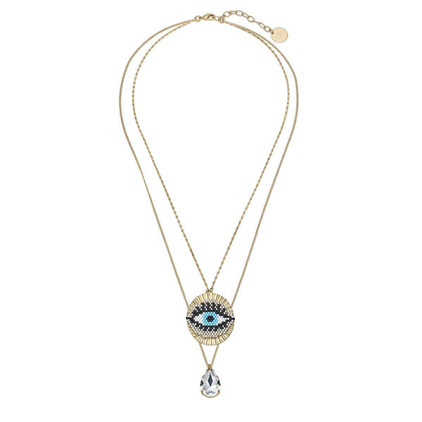 Double Chain Eye Pendant And Drop Crystal Necklace | Anton Heunis | Fashion Accessories | Necklace