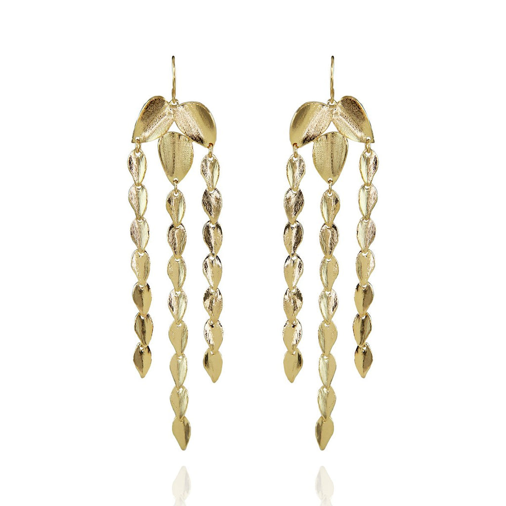 Three Strands Leaf Details Earrings | Marcia Moran | Fashion Accessories | Earrings