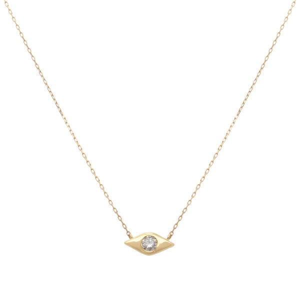 18K Gold Single Stone Diamond Evil Eye Necklace | Boom & Mellow | Fine Jewelry | Necklace