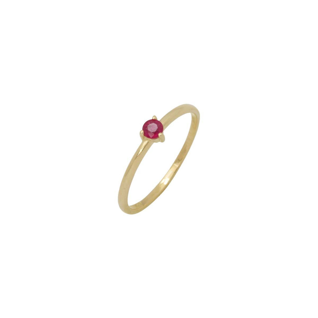 14K Gold Single Stone Ruby Ring | Boom & Mellow | Fine Jewelry | Ring