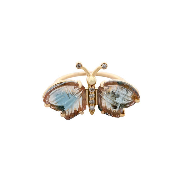 14K Gold Tourmaline Blue Morpho Butterfly Ring | Boom & Mellow | Fine Jewelry | Ring