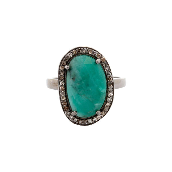 Sterling Silver Bean Shape Emerald Ring | Boom & Mellow | Fine Jewelry | Ring