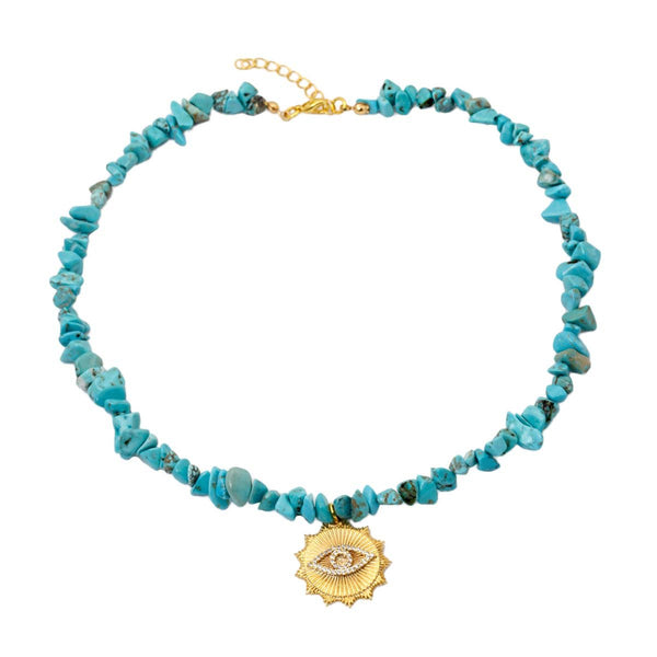 Turquoise diamond eye necklace | Izmat | Fashion Accessories | Necklace