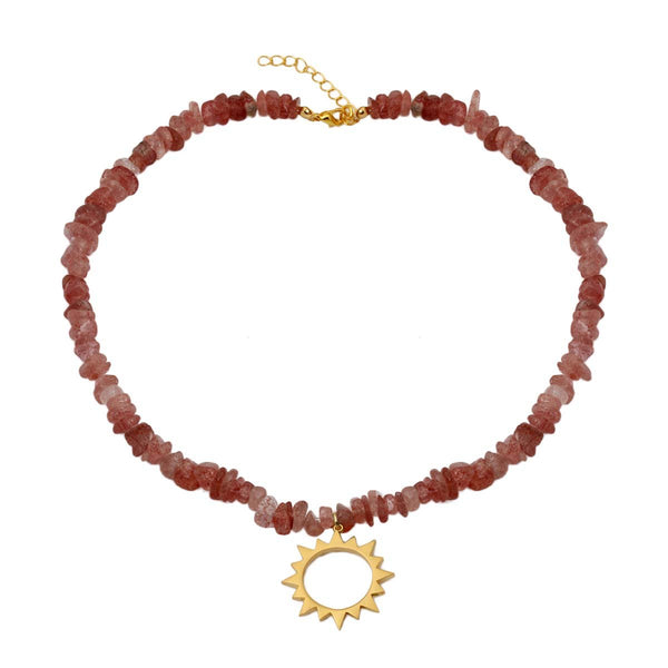Pink topaz sun rays necklace | Izmat | Fashion Accessories | Necklace