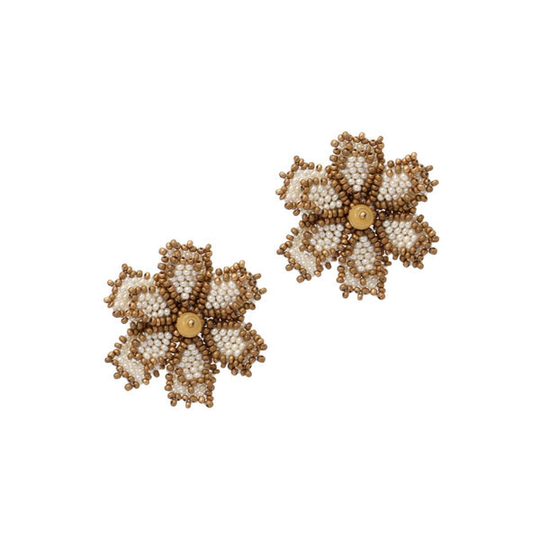 Creme Mini Beaded Florals | House of Biori | Fashion Accessories | Earrings