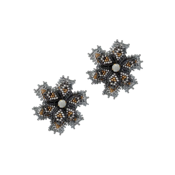 Grey Mini Beaded Florals | House of Biori | Fashion Accessories | Earrings