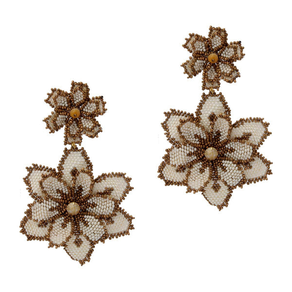 Creme Beaded Maxi Floral Drops | House of Biori | Fashion Accessories | Earrings