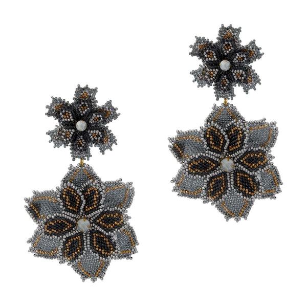 Grey Beaded Maxi Floral Drops | House of Biori | Fashion Accessories | Earrings