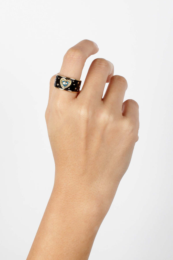 Black Enamel Heart Ring | You & Eye | Fashion Accessories | Ring