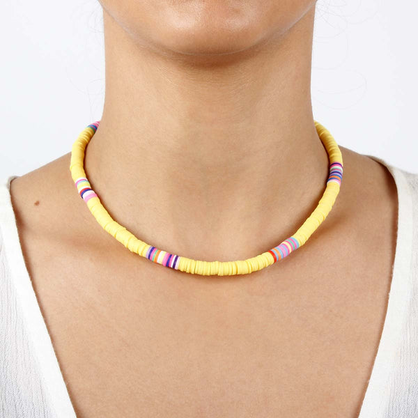 Yellow Clay Beads Choker Necklace Boom & Mellow | Fashion Accessories | Necklace