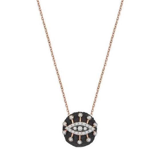 14k rose gold small eye eternal vision plate necklace