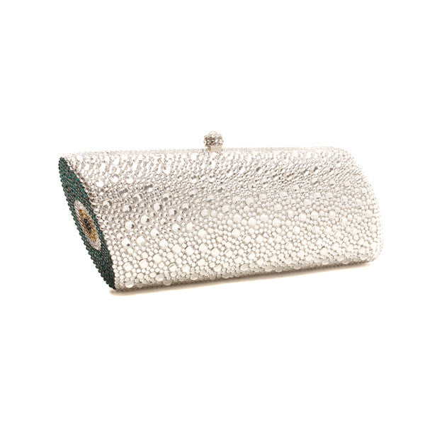 Sunita Mukhi, Assymetrical silver and green clutch