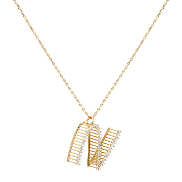 Customizable 18k gold 3d initial necklace