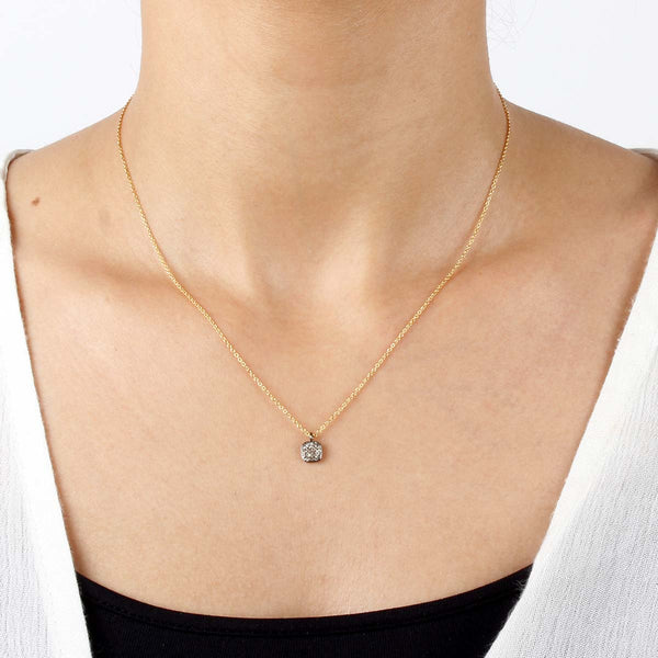 Delicate Pave Diamond Square Necklace | Bloom Jewelry | Fashion Accessories | Necklace