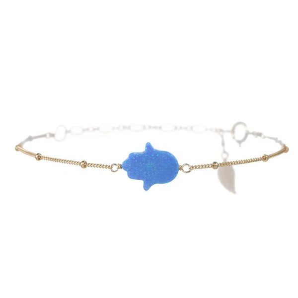 Light Blue Hamsa Ball Anklet | Bara Boheme | Fashion Accessories | Anklets