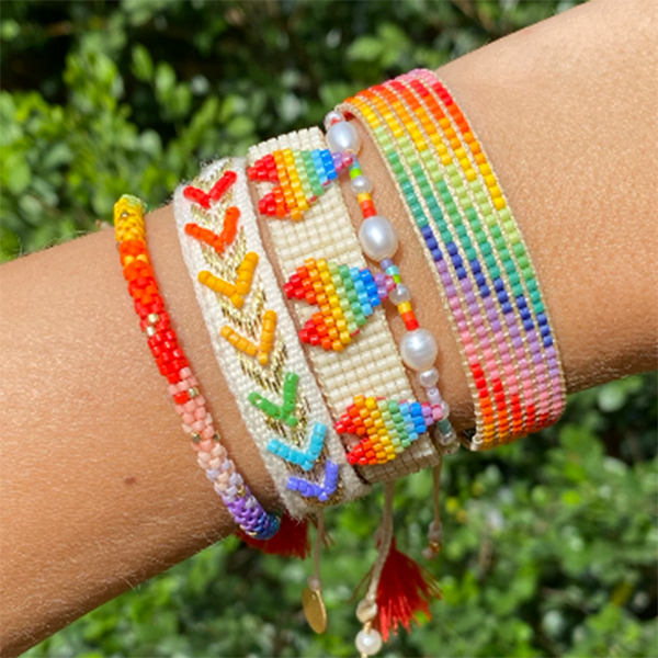 Rainbow beaded three heart bracelet
