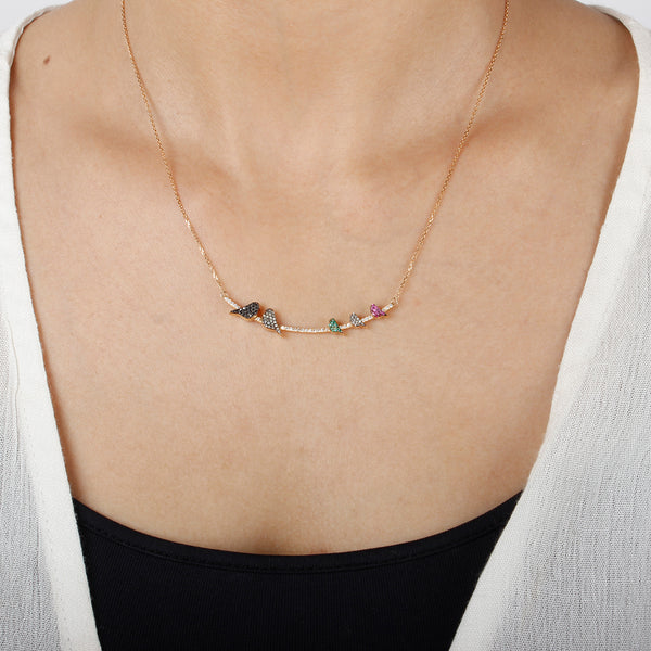 Customized emeralds and rubies birds necklace