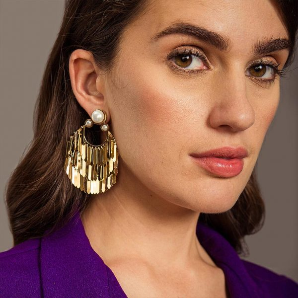Noor Pearl And Gold Fringe Earrings | Isharya | Fashion Accessories | Earrings