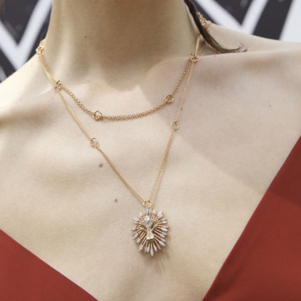 14k rose gold lion drop solitaire necklace