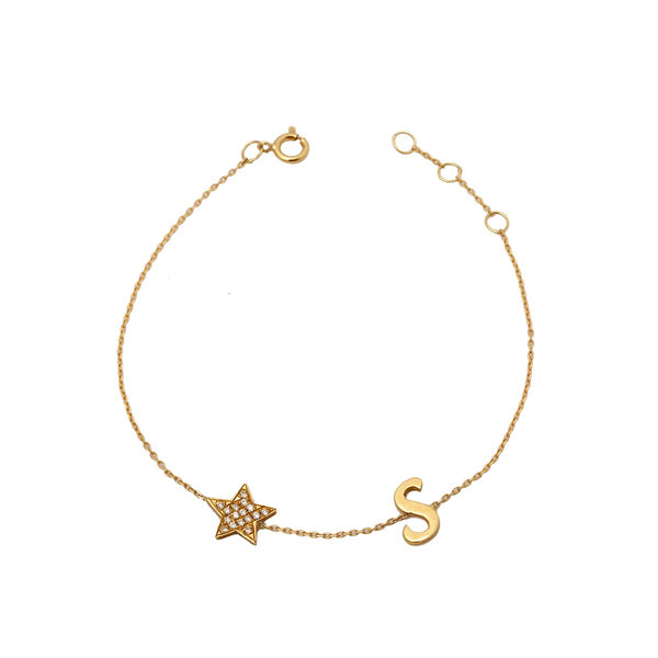 18k gold initial and star bracelet