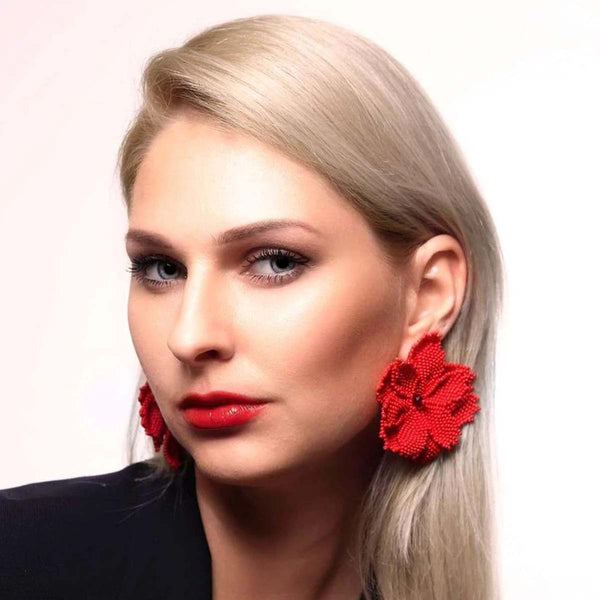 Crimson Beaded Maxi Floral Studs | House of Biori | Fashion Accessories | Earrings
