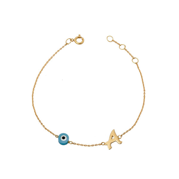 18k gold initial and round eye bracelet