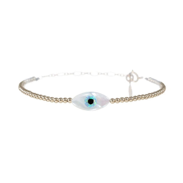 Evil Eye Oval White Bracelet | Bara Boheme | Fashion Accessories | Bracelet