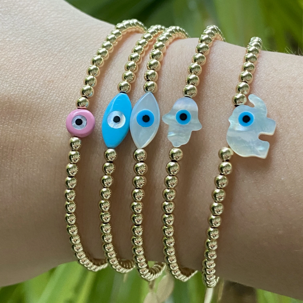 Evil eye oval white bracelet