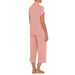 Ash rose, Ivory gisselle short sleeve crop pajama set