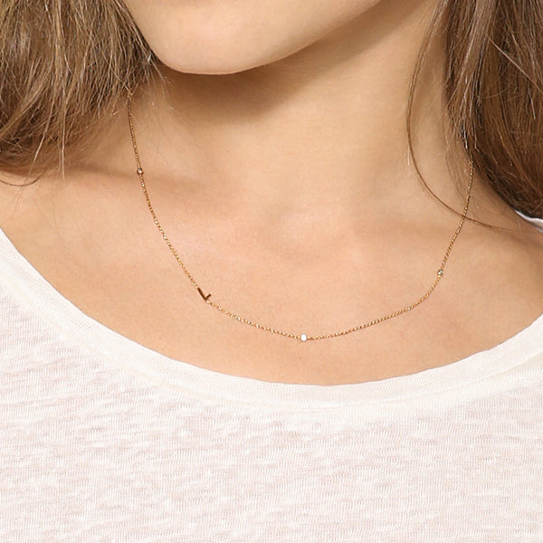 Cubic zircon initial necklace