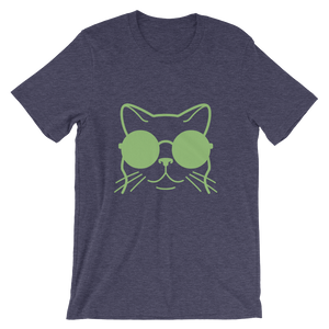 Big cat purple and green t-shirt women