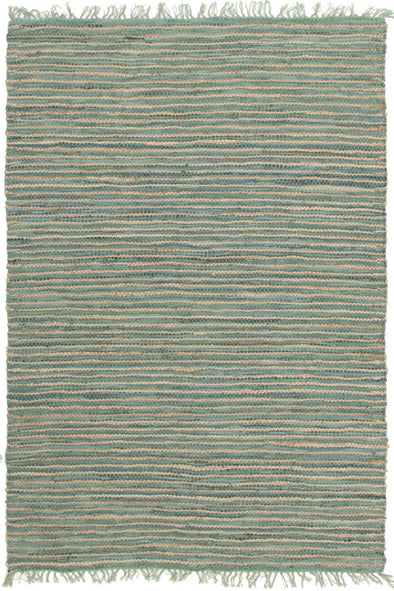 Bondi Leather and Jute Rug Aqua