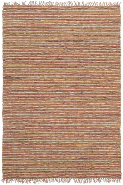 Bondi Leather and Jute Rug Brown - Fantastic Rugs