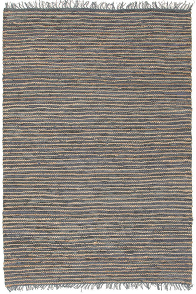 Bondi Leather and Jute Rug Grey