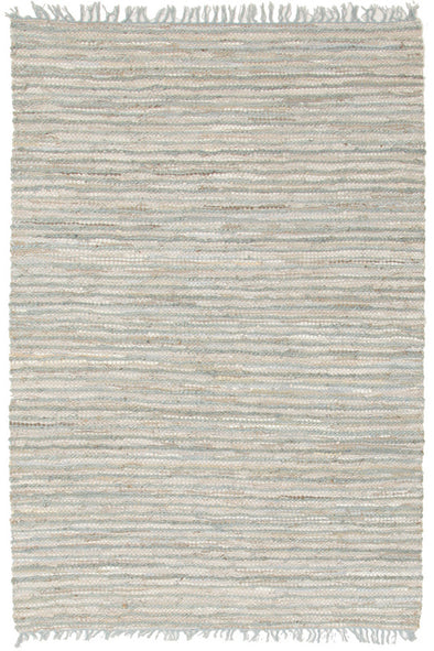 Bondi Leather and Jute Rug Sky Blue