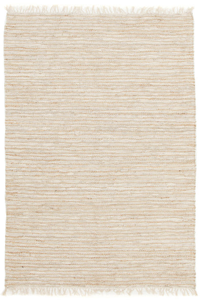 Bondi Leather and Jute Rug White
