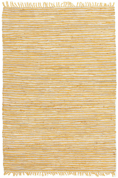 Bondi Leather and Jute Rug Yellow - Fantastic Rugs