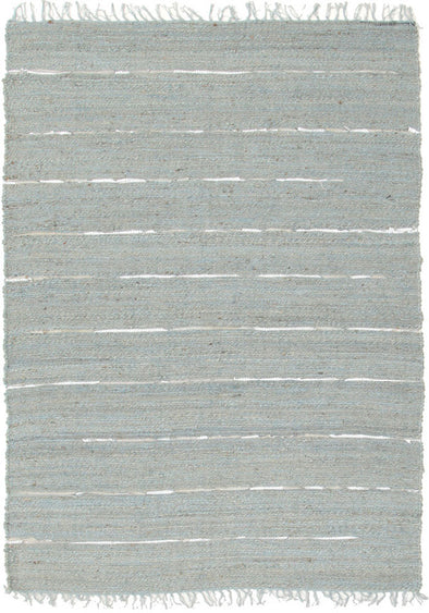 Saville Jute and Leather Rug Blue - Fantastic Rugs