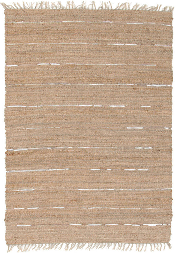 Saville Jute and Leather Rug Natural - Fantastic Rugs