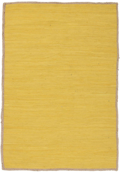 Reno Cotton and Jute Rug Yellow - Fantastic Rugs