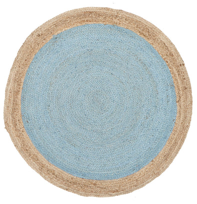 Round Jute Natural Rug Blue - Fantastic Rugs