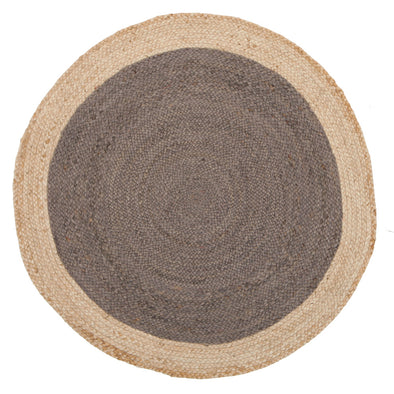 Round Jute Natural Rug Charcoal - Fantastic Rugs