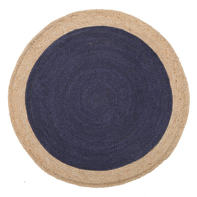 Round Jute Natural Rug Navy - Fantastic Rugs