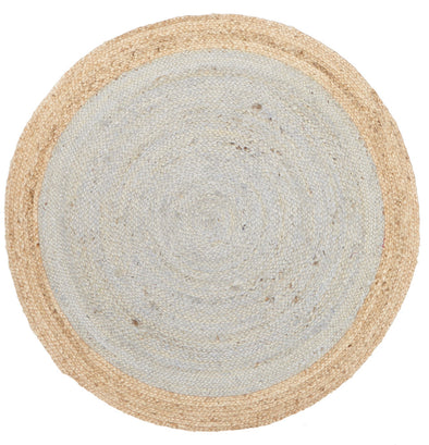Round Jute Natural Rug Silver Blue