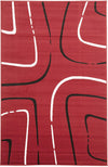Curves Rug Red Black Off White - Fantastic Rugs