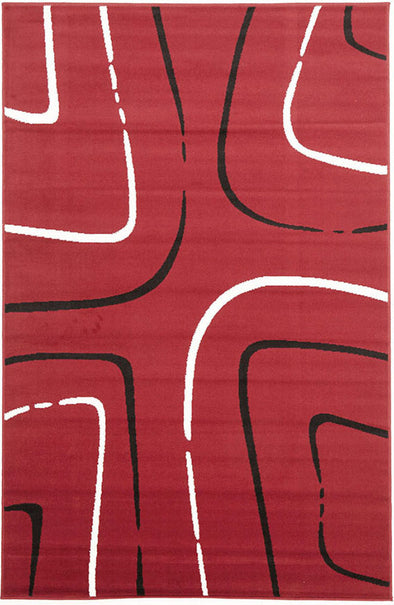 Curves Rug Red Black Off White